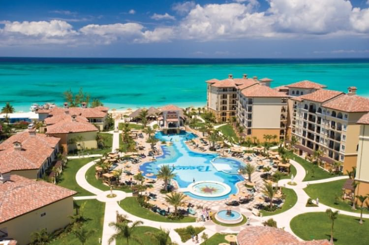 Aerial shot of Beaches Resort in Turks and Caicos.