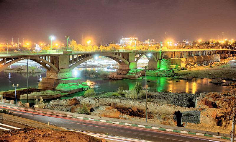 Dezful Sassanid bridge lighting at night
